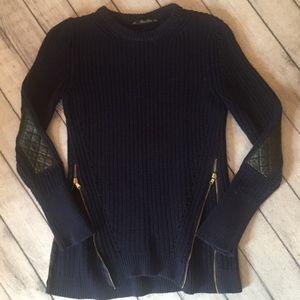 Zara Knit Women's Sweater, Size L, Navy, Patches